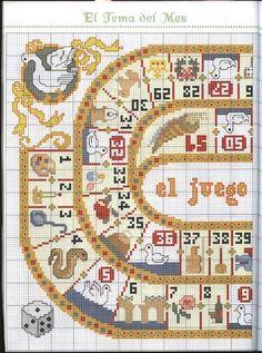 Pincha encima de la imagen para ver más grande... Puedes bordar este juego de la oca para poder jugar con tu familia estas vacaciones de N...
