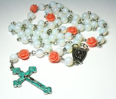Traditional Rosary Necklace, Opalite Moonstone Rosary Beads, Catholic Jewelry