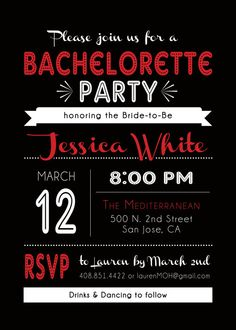 All Custom Colors to match your party! Modern and Fun Bachelorette or Birthday Party Invitations in sets of 10 by PaperworkEnvy Hot Pink, Black and White, Red Retro Girls Night Out Invites