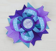 Blue and purple birthday bow mermaid birthday by ArabellasBows