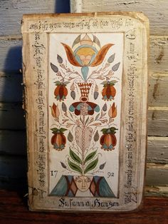 Primitive FoLk ArT Fraktur German Type Ink Painting Antique Book Back Tulip | eBay