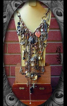 Steampunk Talisman Skulls and Baubles Necklace - Karen Hickerson  #dayofthedead #voodoo