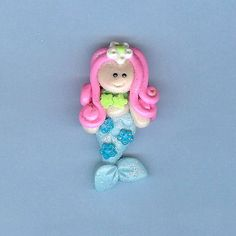 White Blossom Mermaid Polymer Clay Beads and Bow Centers, Jewelry, Charm, Pendant, Hair Bow Center. $1.99, via Etsy.