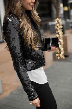 c54a4a89 19 Best black sequin jacket images | Black sequins, Black glitter ...