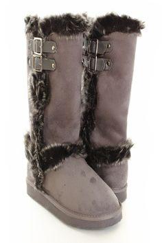 Grey Faux Suede Fur Boots