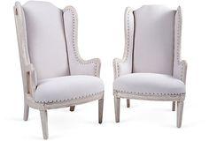 GUSTAVO OLIVIERI  Swedish Wingback Chairs, Pair