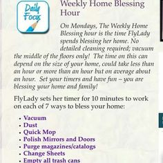 Zone Cleaning Schedule Fly Lady