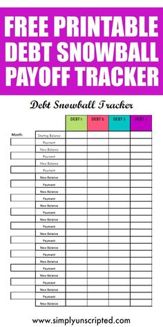 Free Debt Snowball Printable Worksheet: Track Your Debt Payoff