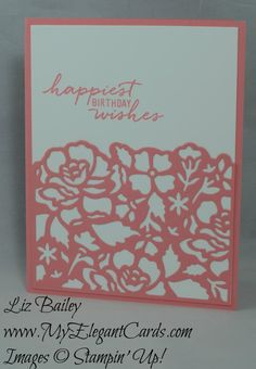 Detailed Floral thinlits dies - Watercolor Wishes - CAS - My Elegant Cards - Liz Bailey - Independent Stampin' Up! Demonstrator
