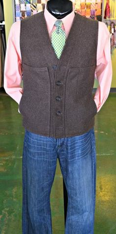 FLIP's Pick of the Day: Filson Mackinaw vest (L, $68.98), Brooks Brothers shirt (L, $19.98), Earnest Sewn jeans (34, $38.98) & Seaward & Stearn tie ($34.98)! Stop by to see these items, plus many more, today & only @ FLIP - The Premiere Mens Consignment Store!!