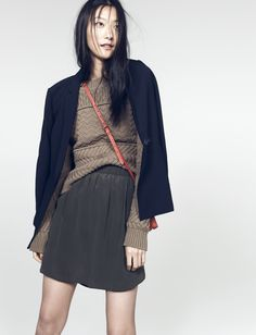 madewell lycée drapey blazer worn with the station pullover, sun-garden skirt + twin pouch crossbody.