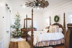 This #farmhouse bedroom rocks! Love the ceiling fan especially. #homedecor @istandarddesign