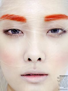 Kwak jiyoung for Dazed and Confused Korea July gorgeous editorial makeup look, orange eyebrows makeup, pale lips and rosy cheeks and orange eyebrows makeup, Makeup Inspo, Makeup Art, Makeup Inspiration, Eye Makeup, Hair Makeup, Makeup Eyebrows, Makeup Trends, Make Up Looks, Beauty Make Up
