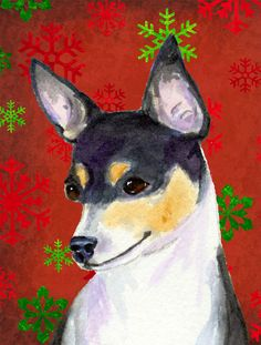 Chihuahua Red and Green Snowflakes Holiday Christmas House Vertical Flag