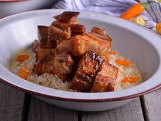 Receta | Tacos de ventresca de cerdo garrapiñados y arroz de cítricos - canalcocina.es
