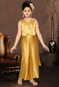 An adorable gold color satin gown will make you look too stylish and graceful. The fantastic dress creates a dramatic canvas with wonderful patch work. Anarkali Dress, Lehenga Choli, Anarkali Suits, Sarees, Kids Salwar Kameez, Party Wear, Party Dress, Stylish Dresses, Formal Dresses