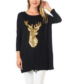 Black & Gold Reindeer Tunic