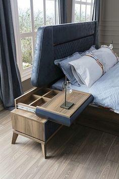 Modern Nightstand Ideas from the Master Bedroom Collection - Diy Möbel Bedroom Bed Design, Bedroom Furniture Design, Home Decor Furniture, Cool Furniture, Bedroom Decor, Master Bedroom, Furniture Layout, Furniture Online, Furniture Companies
