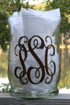 Monogrammed Glass Vase - I think this would be so cute in a bathroom!!