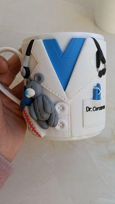 Custom dentist mug, personalized dentistry future dentist gift Polymer Clay Charms, Handmade Polymer Clay, Diy Clay, Clay Crafts, Gifts For Dentist, Clay Mugs, Clay Miniatures, Clay Tutorials, Personalized Mugs