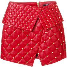 Balmain quilted asymmetric skirt ($2,898) ❤ liked on Polyvore featuring skirts, red, balmain skirt, studded skirt, high-waist skirt, red asymmetrical skirt and balmain