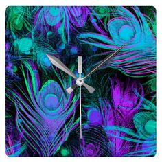 Peacock Feather Wall Clock by Julie Everhart