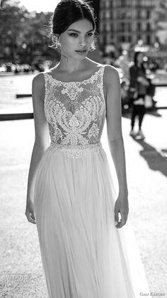 gali karten 2017 bridal sleeveless bateau neck heavily embellished bodice tulle skirt flowy side split soft a  line wedding dress sweep train (10) zv -- Gali Karten 2017 Wedding Dresses