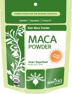 RAW Maca powder. 7.1 oz $17.75. Maca  is a potent, ancient Peruvian superfood highly prized by Incan warriors to increase stamina, boost libido, calm skin, calm inflammation and combat fatigue.