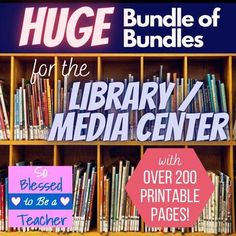 This is it! This HUGE resource is a BUNDLE of ALL my school library BUNDLES...and more!I have combined ALL of my library bundles, along with a few other popular library-related products, to create an AWESOME collection of activities and printables for school librarians / media specialists at an AMAZ...