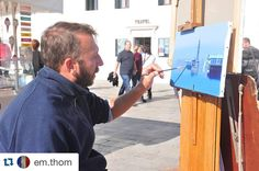 #Repost @em.thom This is Andrea Alzeni. He paints in a spot just beyond the Palazzo Ducale on the banks of the Canal and in the direction of the Arsenale. He occasionally shifts his easel as the sun moves across the sky but other than that or an engaging conversation with a nearby colleague nothing on earth could disturb him from his work. As I admire artists I couldn't say how long I watched him observing the skyline of the beautiful city emerge from the canvas. 31.10.15 #venezia…