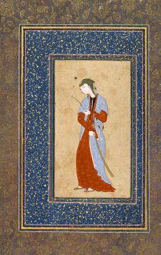 Young woman with a spray of lilies 16th century Safavid period Opaque watercolor and gold on paper H: 14.2 W: 7.8 cm Iran