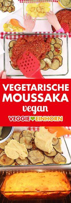 Vegetarian Moussaka ᐅ Greek casserole with eggplants and potatoes ᐅ vegan recipe Greek Try Moussaka Vegan, Bechamel Sauce Easy, Greek Recipes, Vegan Recipes, Pasta Recipes, Mediterranean Vegetarian Recipes, Vegan Mince