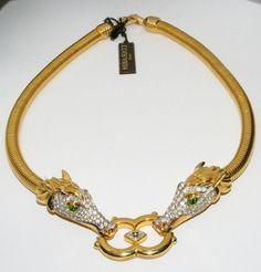 Vintage 1980'S Nina Ricci Rhinestone Horse Head Necklace Figural Runway Collar