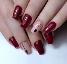 Stylish Nails, Trendy Nails, Cute Nails, Nails Today, Gel Nagel Design, Nagellack Trends, Short Nails Art, Short Red Nails, Best Acrylic Nails
