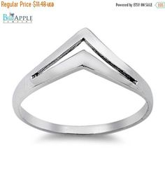 Shiny Plain Open Cut Chevron Design Fancy Ring Solid 925 Sterling Silver Plain Simple 3mm Band Open Cut Ring Size 4-16