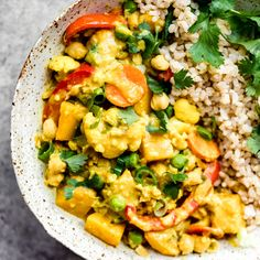 Nourishing yellow chickpea pumpkin curry simmered in cozy spices and served with fragrant coconut brown rice. This vegan curry recipe is packed with plant based protein and perfect for meal prep! Savory Pumpkin Recipes, Healthy Pumpkin, Vegan Pumpkin, Roasted Tomato Basil Soup, Roasted Tomatoes, Tomato Soup, Curry Recipes, Vegan Recipes, Vegaterian Recipes