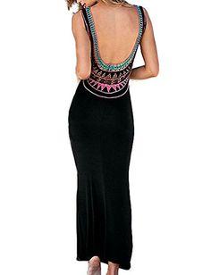 Cfanny Women's Crochet Open Back Sleeveless Summer Maxi Dress $15.99