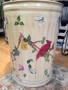 20 Gallon Hand Painted Trash Can  krystasinthepoint.com - ETSY