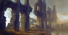 Concept art by Levi Hopkins - Ruins, horseman, medieval, fantasy