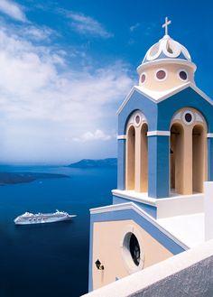 Crystal Symphony sails in the Aegean Sea, calling on gorgeous Greek islands like Santorini.