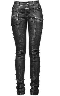 faux leather, they feature a black faux leather belt across the hips, spike studs down the side of each leg, various zip pockets and a skull buckle fastening zip fly.