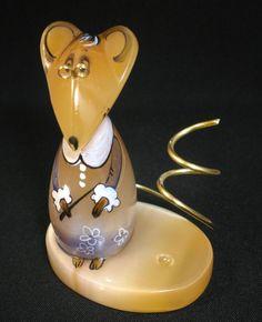 #Selenite #figurine #Rat-a #teacher the #pen holder hand #painted on #natural #stone