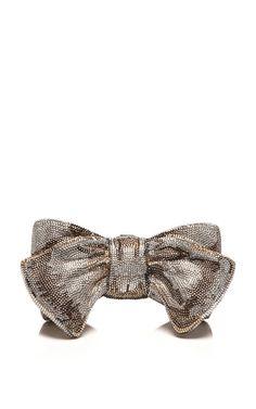 Judith Leiber Silver Bow Evening Bag by  for Preorder on Moda Operandi