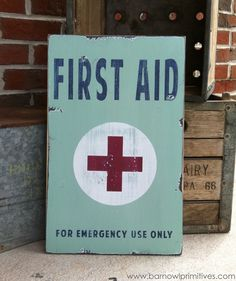 First Aid Heavily Distressed Vintage Style Sign. $75.00, via Etsy.