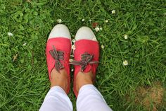 Red Bensimon shoes - customised with stitched grosgrain ribbon in taupe.