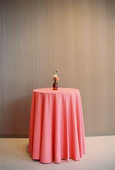 Coral linen. dark glass. Sullivan Owen. Photography: Siousca Photography - www.siouscaphotography.com Read More: http://www.stylemepretty.com/mid-atlantic-weddings/2014/03/06/autumn-inspired-philadelphia-wedding/