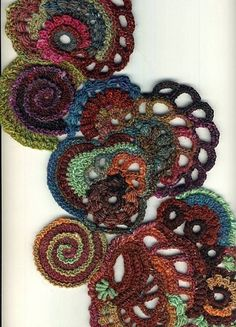 Jayson Jayson Riker pretty free form crochet with random bits of yarn. Art Au Crochet, Crochet Motifs, Freeform Crochet, Love Crochet, Irish Crochet, Crochet Crafts, Yarn Crafts, Crochet Flowers, Crochet Stitches