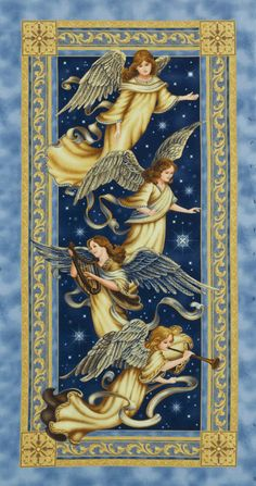 Christmas Fabric Panels | Quilt Fabric Panel Angel Choir Traditional Christmas Fabric Christian