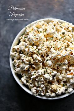 Enjoy a late afternoon treat with this Parmesan Popcorn recipe. Air-popped popcorn topped with parmesan cheese and dried parsley. Perfect for an afternoon treat! Popcorn Toppings, Cheese Popcorn, Pop Popcorn, Air Popped Popcorn, Popcorn Recipes, Snack Recipes, Popcorn Bowl, Candy Recipes