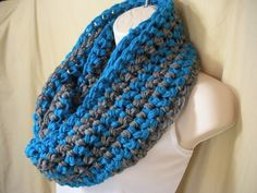 Multicolor Turquoise Blue and Gray Striped Fashion Cowl Infinity Circle Scarf Neckwarmer This scarf was handmade in a smokefree environment. The